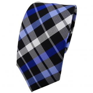 Enrico Sarto Seidenkrawatte blau schwarz silber grau kariert - Krawatte Seide