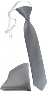 TigerTie Kinderkrawatte + Einstecktuch in grau Uni - vorgebunden mit Gummizug