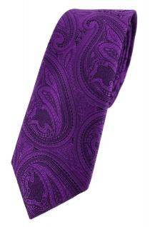 TigerTie - schmale Designer Krawatte in lila schwarz Paisley gemustert