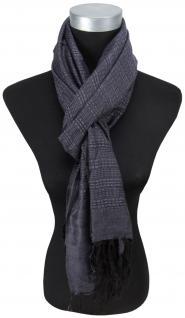 Schal in anthrazit schwarz einfarbig gemustert mit Fransen - Größe 180 x 70 cm