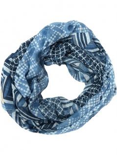 Panuelo Loop Schal in blau dunkelblau marine grauweiss gemustert - Schlauchschal