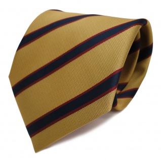 Designer Krawatte gold blau royal rot weinrot gestreift - Schlips Binder Tie