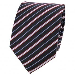 Satin Seidenkrawatte anthrazit blau rot silber gestreift - Krawatte Seide Tie