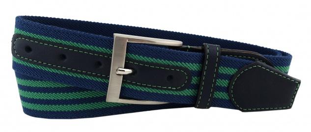 TigerTie - Stretchgürtel grün blau dunkelblau gestreift - Bundweite 90 cm