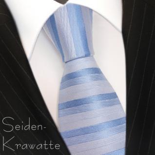 schöne feine Designer Krawatte in blau grau gestreift 100% Seide - Vorschau