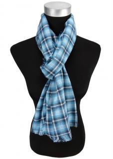 Schal in türkis blau mint kariert mit kleinen Fransen - Gr. 180 x 50 cm
