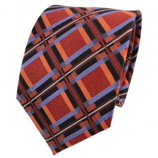 TigerTie Designer Seidenkrawatte orange braun blau schwarz kariert - Krawatte