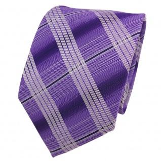 Designer Krawatte lila blaulila violett silber kariert - Schlips Binder Tie