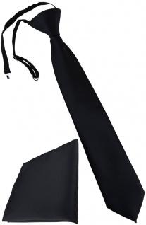 TigerTie Kinderkrawatte + Einstecktuch in schwarz - vorgebunden mit Gummizug
