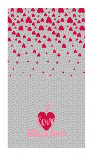 Schal in rot grau rosa mit Schriftzug I love München, Motive Herzen Frauenkirche - Vorschau 2