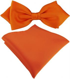 vorgebundene TigerTie Spitzfliege + Einstecktuch in orange Uni einfarbig + Box