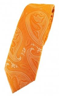 TigerTie - schmale Designer Krawatte in orange silber Paisley gemustert