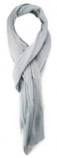 TigerTie Schal in silber grau einfarbig mit Fransen - Gr. 180 x 70 cm