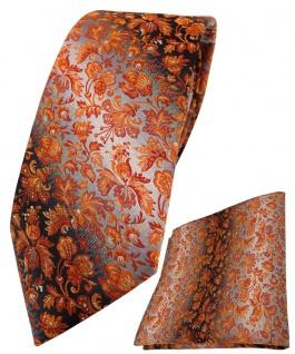 TigerTie Krawatte + Einstecktuch orange anthrazit grausilber geblümt gemustert