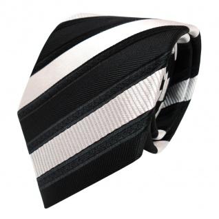 TigerTie Designer Krawatte - Schlips Binder schwarz silber gestreift - Tie