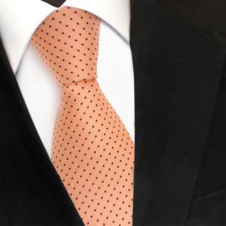 TigerTie Designer Seidenkrawatte orange lachs gepunktet - Krawatte Seide Silk