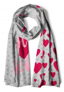 Schal in rot grau rosa gemustert mit Schriftzug I love Krefeld und Herzmotive