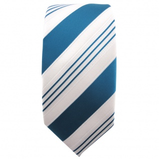 schmale TigerTie Satin Krawatte türkis ozeanblau weiß silber gestreift - Binder - Vorschau 2