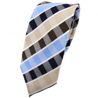 schmale TigerTie Krawatte beige braun blau hellblau weiß gestreift - Binder Tie