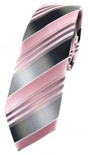 schmale TigerTie Designer Krawatte rosa hellrosa silber anthrazit grau gestreift