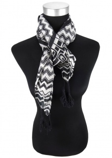 Halstuch in grau schwarz gemustert mit Tusseln an den Ecken - Gr. 100 x 100 cm - Vorschau 2