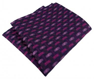 TigerTie Designer Einstecktuch in bordeauxviolett schwarz - Motiv Flechtmuster