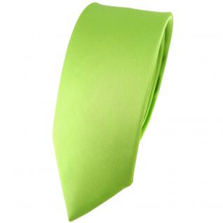 schmale TigerTie Satin Seidenkrawatte hellgrün einfarbig - Krawatte 100% Seide
