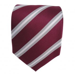 TigerTie Krawatte rot violett bordeaux grau silber gestreift - Schlips Binder - Vorschau 2