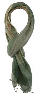 TigerTie Schal in grün olive grau beige gemustert mit Fransen