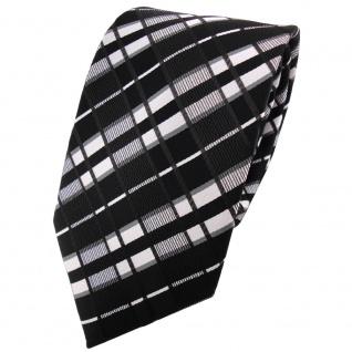 TigerTie Krawatte in schwarz anthrazit silber grau gestreift - Binder Tie