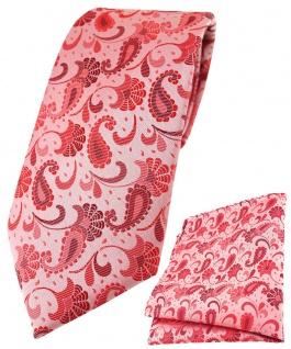 TigerTie Krawatte + Einstecktuch in rose weinrot silberrosa Paisley gemustert