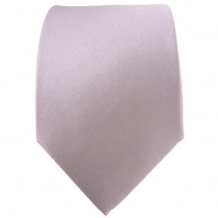 TigerTie Satin Seidenkrawatte silber grau einfarbig Uni - Krawatte 100% Seide - Vorschau 2