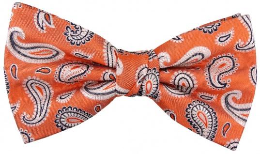 TigerTie Seidenfliege orange silber anthrazit Paisley gemustert - Fliege Seide