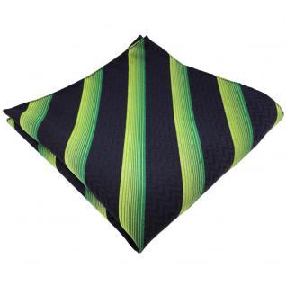 TigerTie Designer Seideneinstecktuch in grün blau dunkelblau schwarz gestreift