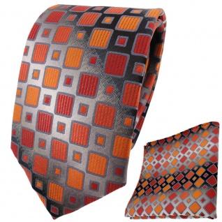 TigerTie Krawatte + Einstecktuch orangerot silbergrau schwarz kariert