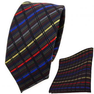 schmale TigerTie Krawatte + Einstecktuch gold grau blau rot schwarz gestreift