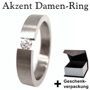 Damen Edelstahl Ring mit Zirkonia +Geschenkbox * Gr. 48
