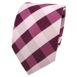 Designer Krawatte rot rotviolett weiß kariert - Schlips Binder Tie