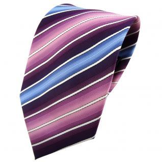 TigerTie Krawatte lila dunkellila rosa blau creme gestreift - Tie Binder
