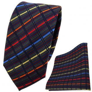 schmale TigerTie Krawatte + Einstecktuch gold blau rot orange schwarz gestreift