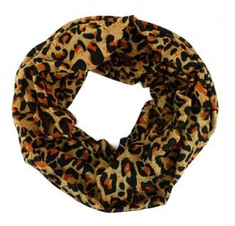 TigerTie Multifunktionstuch in braun ocker schwarz Leopardenmuster - Tuch Schal