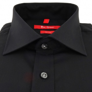 Ben Green Herrenhemd schwarz Uni langarm bügelfrei - New-Kent-Kragen Hemd Gr.41 - Vorschau 2