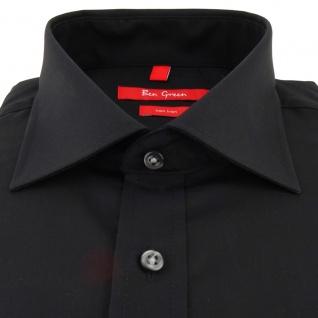 Ben Green Herrenhemd schwarz Uni langarm bügelfrei - New-Kent-Kragen Hemd Gr.43 - Vorschau 2