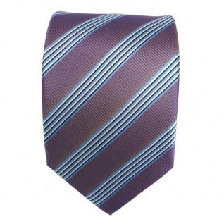 Elegante Krawatte - Schlips Binder lila blau schwarz weiss gestreift - Tie - Vorschau 2