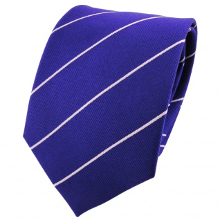 TigerTie Seidenkrawatte ultramarinblau silber gestreift - Krawatte 100% Seide