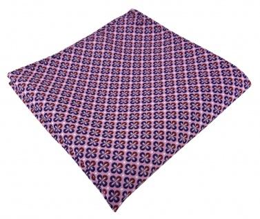 TigerTie Designer Einstecktuch in rosa rot silber marine gemustert