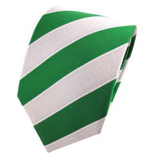 TigerTie Designer Krawatte grün laubgrün silbergrau gestreift - Binder Tie