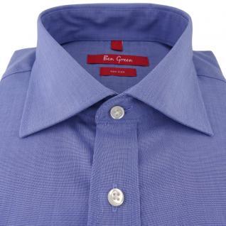 Ben Green Herrenhemd blau Uni langarm bügelfrei - New-Kent-Kragen Hemd Gr.47 - Vorschau 2