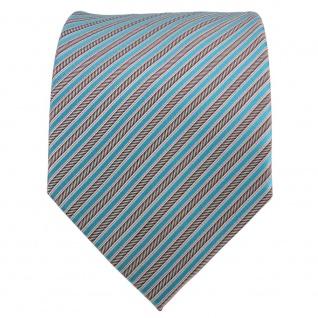 TigerTie Seidenkrawatte türkis anthrazit silber grau gestreift - Krawatte Seide - Vorschau 2