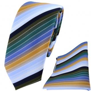 schmale TigerTie Krawatte + Einstecktuch grün olive orange blau silber gestreift
